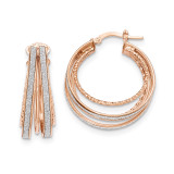 Round Hoop Earrings 14k Rose Gold Polished Glitter Infused TH810