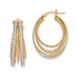 Large Oval Hoop Earrings 14k Gold Polished Glitter Infused TH811