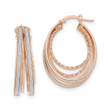 Large Oval Hoop Earrings 14k Rose Gold Polished Glitter Infused TH812