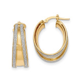 Small Oval Hoop Earrings 14k Gold Polished Glitter Infused TH813