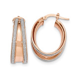 Small Oval Hoop Earrings 14k Rose Gold Polished Glitter Infused TH815