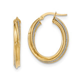Twisted Oval Hoop Earrings 14k Gold Polished Glitter Infused TH816