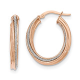 Twisted Oval Hoop Earrings 14k Rose Gold Polished Glitter Infused TH818