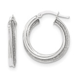 Twisted Small Round Hoop Earrings 14k White Gold Polished Glitter Infused TH820