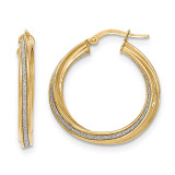 Twisted Large Round Hoop Earrings 14k Gold Polished Glitter Infused TH822
