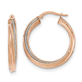 Twisted Large Round Hoop Earrings 14k Rose Gold Polished Glitter Infused TH824