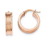 Small Round Hoop Earrings 14k Rose Gold Polished TH827