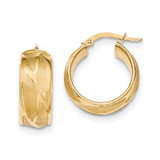 Small Round Hoop Earrings 14k Gold Textured TH828