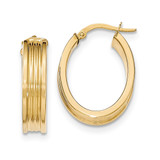 Small Oval Hoop Earrings 14k Gold Polished TH830