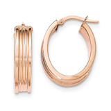 Small Oval Hoop Earrings 14k Rose Gold Polished TH832