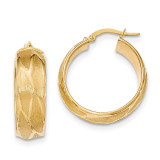 Large Round Hoop Earrings 14k Gold Textured TH833