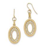 Oval Shepherd Hook Earrings 14k Gold Textured TH848