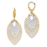 Leverback Earrings 14k Two-tone Gold Polished Diamond-cut TH897