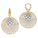 Round Leverback Earrings 14k Two-tone Gold Polished Diamond-cut TH902