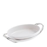 Sambonet living oval porcelain dish set 13 3/4 x 9 1/2 inch - antioxidant alloy & porcelain  MPN: 56401-35