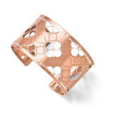 Leslies Sterling Silver and Rose Gold-plated Diamond-cut Cuff Bangle MPN: F525