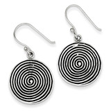 Sterling Silver Antiqued, Polished & Textured Circle Dangle Earrings MPN: QE6851