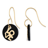 14k Gold LOVE Circle Onyx Dangle Earrings MPN: SE2149