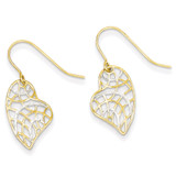 14k Gold & Rhodium Diamond Cut Heart Dangle Earrings MPN: YE1667