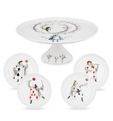 Vista Alegre Tea with Alice Set Small Footed Cake Plate & 4 Small Plates with Gift Box MPN: 21116998