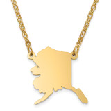 Alaska State Pendant with Chain Engraveable Gold-plated on Sterling Silver MPN: XNA706GP-AK