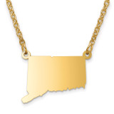 Connecticut State Pendant with Chain Engraveable Gold-plated on Sterling Silver MPN: XNA706GP-CT
