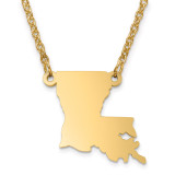 Louisiana State Pendant with Chain Engraveable Gold-plated on Sterling Silver MPN: XNA706GP-LA