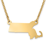 Massachusetts State Pendant with Chain Engraveable Gold-plated on Sterling Silver MPN: XNA706GP-MA