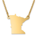 Minnesota State Pendant with Chain Engraveable Gold-plated on Sterling Silver MPN: XNA706GP-MN