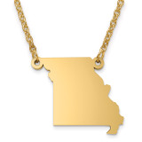 Missouri State Pendant with Chain Engraveable Gold-plated on Sterling Silver MPN: XNA706GP-MO
