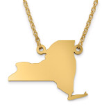 New York State Pendant with Chain Engraveable Gold-plated on Sterling Silver MPN: XNA706GP-NY