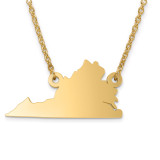 Virginia State Pendant with Chain Engraveable Gold-plated on Sterling Silver MPN: XNA706GP-VA