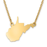 West Virginia State Pendant with Chain Engraveable Gold-plated on Sterling Silver MPN: XNA706GP-WV