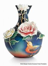 Franz Porcelain Blooming Flowers and Pheasant Design Sculptured Porcelain Large Vase FZ02804