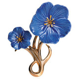 Franz Porcelain Blue Flax Flower Gold Plated Brass & Porcelain Brooch FJ00187
