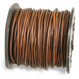 1300 2 mm. 25 Yard Distressed Brown Leather Cord MPN: CRD844/2.0-25