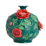 Franz Porcelain Chinese Rose Design Sculptured Porcelain Large Vase FZ02815