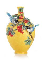 Franz Porcelain Double Happiness Magpies Vase FZ02982