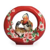 Franz Porcelain Everlasting Love Of Mandarin Ducks Vase Le 1,688 FZ02242