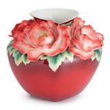 Franz Porcelain Everlasting Peony Design Sculptured Porcelain Large Vase Limited Edition 2,000 FZ02740