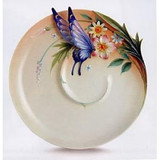 Franz Porcelain Fluttering Beauty Flower And Butterfly Ornamental Platter FZ02362