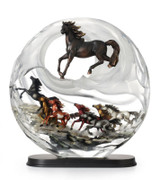 Franz Porcelain Galloping Stallions Lucite Figurine With Wooden Base Limited Edition 288 FL00087