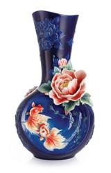 Franz Porcelain Goldfish And Peony Vase Limited Edition 988 FZ03010