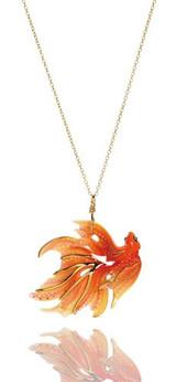 Franz Porcelain Goldfish Rhodium Plated Brass & Porcelain Pendant FJ00034
