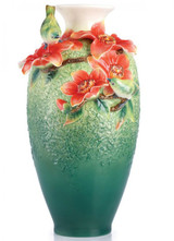 Franz Porcelain Hero Forever Silk Cotton Tree and Japanese White Eye Vase FZ02911