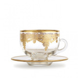 Vetro Gold Coffee Cup & Saucer MPN: SR19E/SOZ UPC: 814639005097 by Arte Italica Pewter