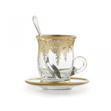 Vetro Gold Cup & Saucer with Spoon MPN: SR400/SOZ UPC: 814639005103 by Arte Italica Pewter