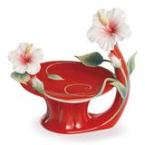 Franz Porcelain Island Beauty Hibiscus Flower Candleholder FZ01624