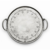 Vintage Pewter Round Tray with Handles MPN: VIN2345 UPC: 814639002447 by Arte Italica Pewter