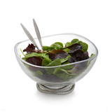 Nambe Braid Glass Salad Bowl with Servers Chrome Plate Glass Stainless Steel  MPN: MT0777 UPC: 672275307773